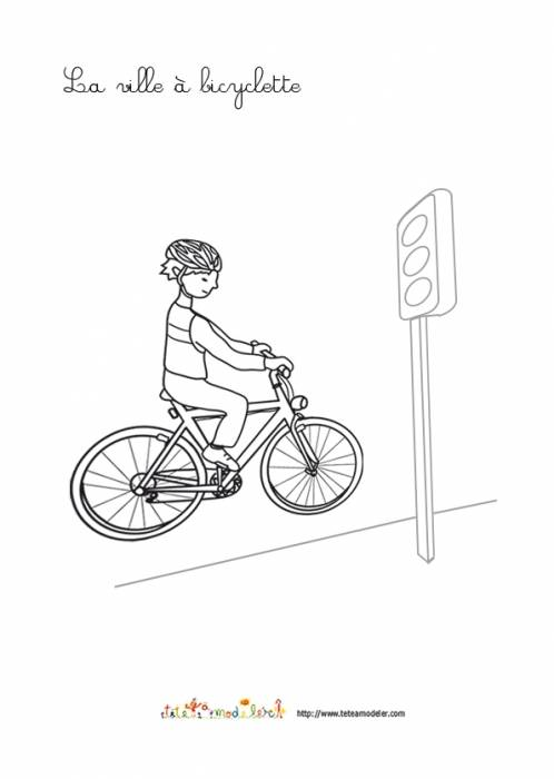Free coloring and drawings The City on a Bicycle Coloring page