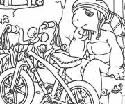 Coloring pages Turtle and his Bike