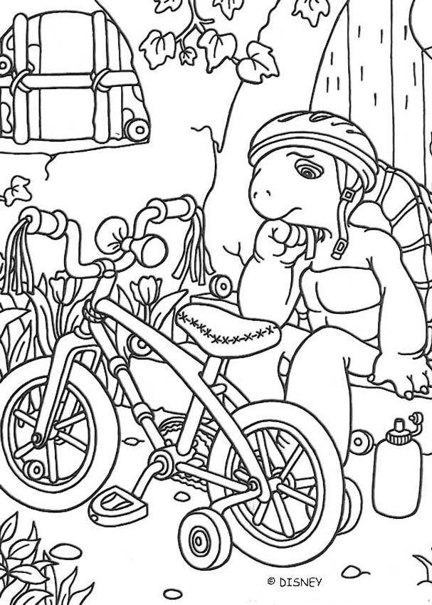 Free coloring and drawings Turtle and his Bike Coloring page
