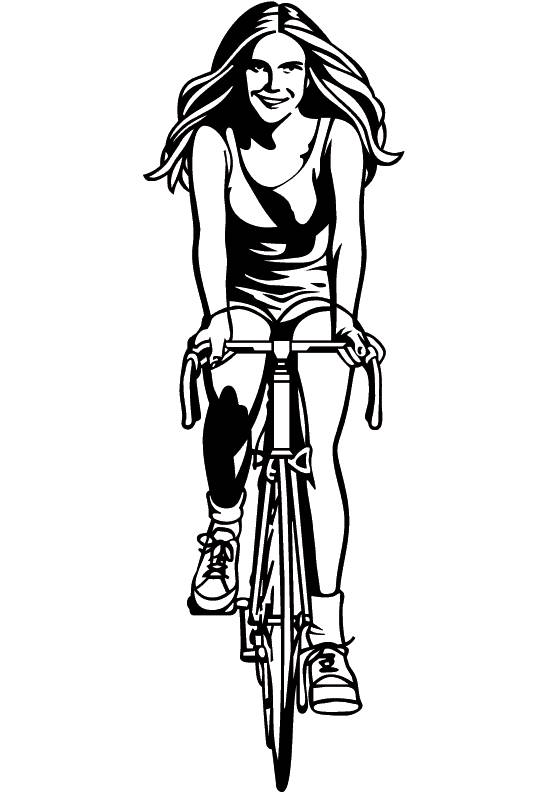 Free coloring and drawings Vector Cyclist Girl Coloring page