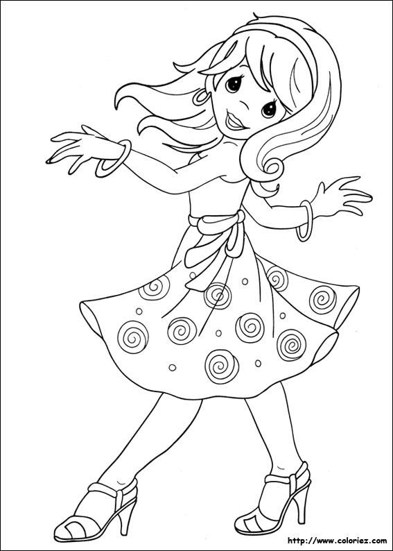 Free coloring and drawings A dancing girl Coloring page