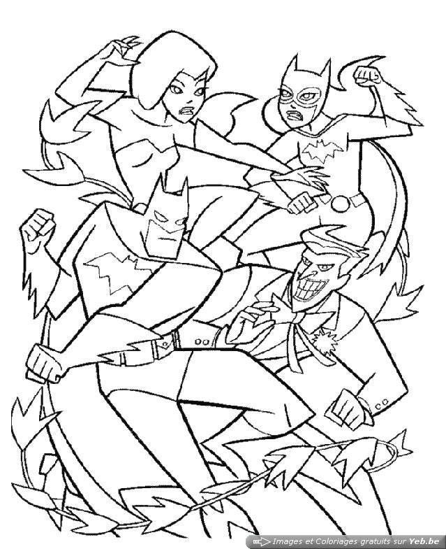 Free coloring and drawings Batman and Joker fight Coloring page