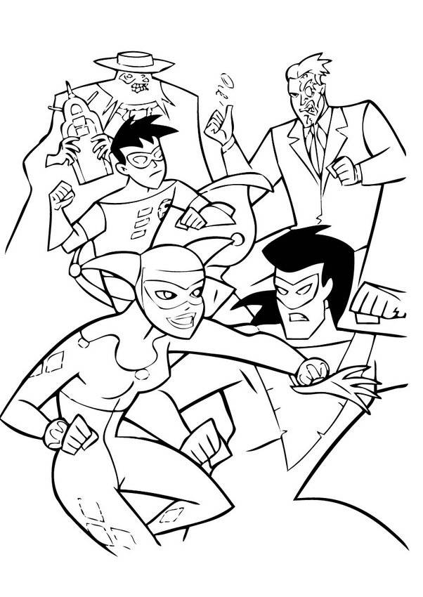 Free coloring and drawings Cartoon fight Coloring page