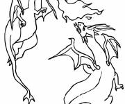 Coloring pages Combat Dragon