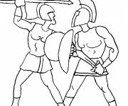 Coloring pages Combat of Roman Warriors