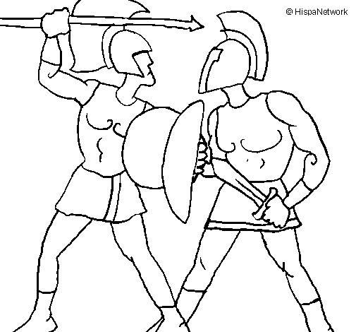 Free coloring and drawings Combat of Roman Warriors Coloring page