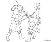 Coloring pages Combat Warriors and swords