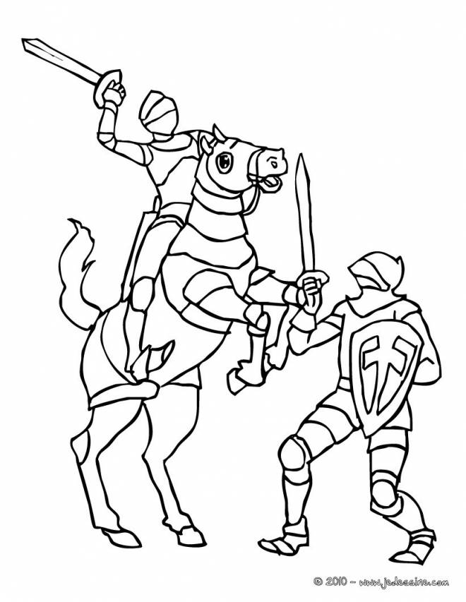 Free coloring and drawings Knight and Soldier Combat Coloring page