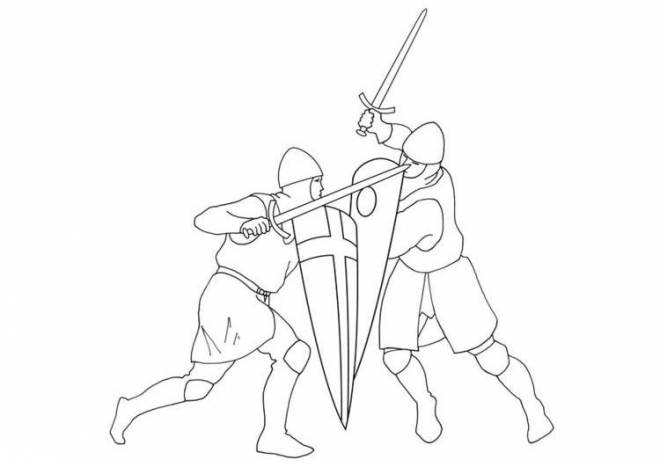 Free coloring and drawings Medieval combat Coloring page