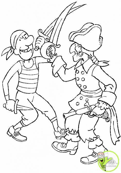 Free coloring and drawings Pirate fight Coloring page