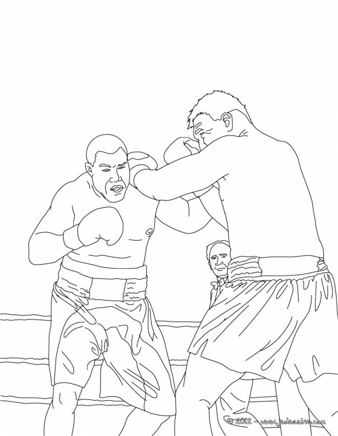 Free coloring and drawings Stylized Boxing Fight Coloring page