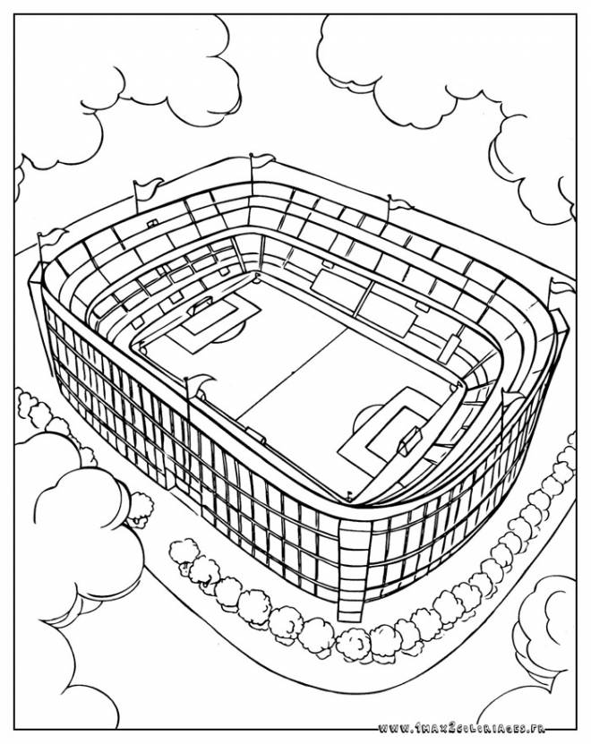 Free coloring and drawings A football stadium Coloring page