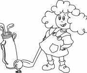 Free coloring and drawings A girl is playing golf Coloring page