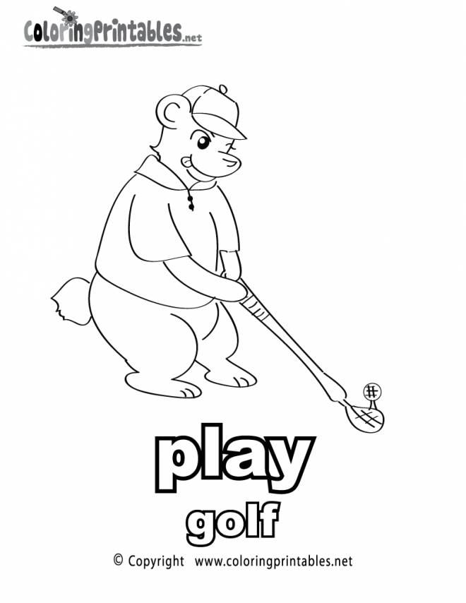 Free coloring and drawings Cartoon golf Coloring page