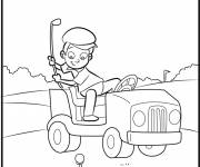 Free coloring and drawings Child Playing Funny Golf Coloring page