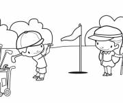 Coloring pages Children playing golf