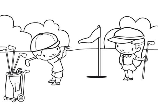 Free coloring and drawings Children playing golf Coloring page