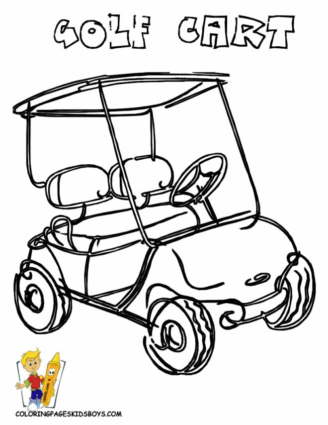 Free coloring and drawings Color Golf Car Coloring page