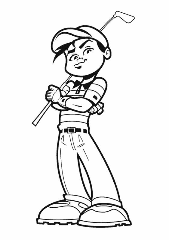 Free coloring and drawings Confident golfer Coloring page