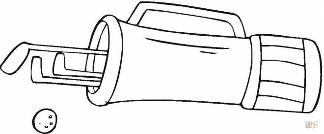 Free coloring and drawings Golf bag in black and white Coloring page