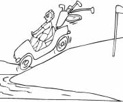 Coloring pages Golf car in the river