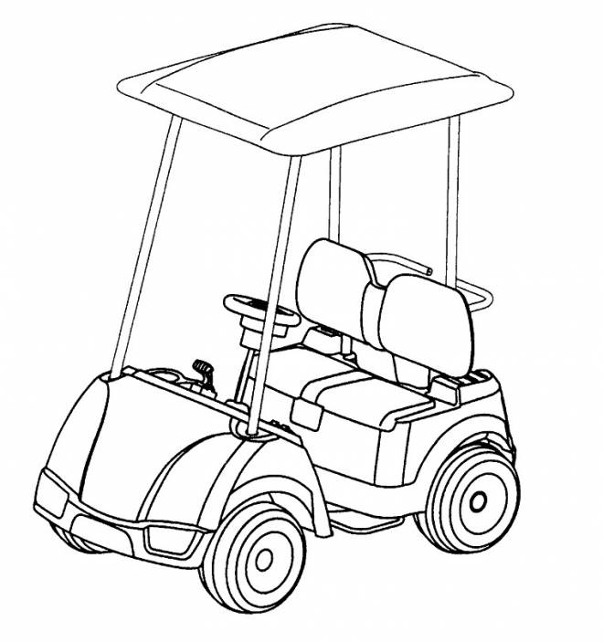 Free coloring and drawings Golf cart Coloring page