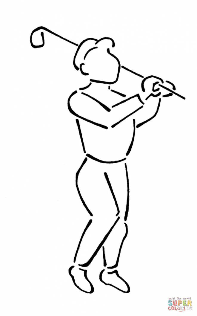 Free coloring and drawings Golf player to decorate Coloring page