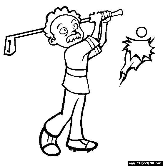 Free coloring and drawings Golfer not professional enough Coloring page