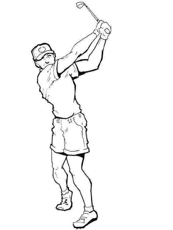 Free coloring and drawings Golfer pulls the ball Coloring page