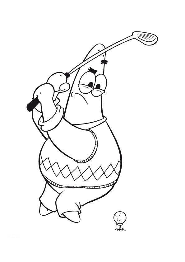 Free coloring and drawings Humorous golfer Coloring page