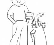 Coloring pages Little smiling golfer