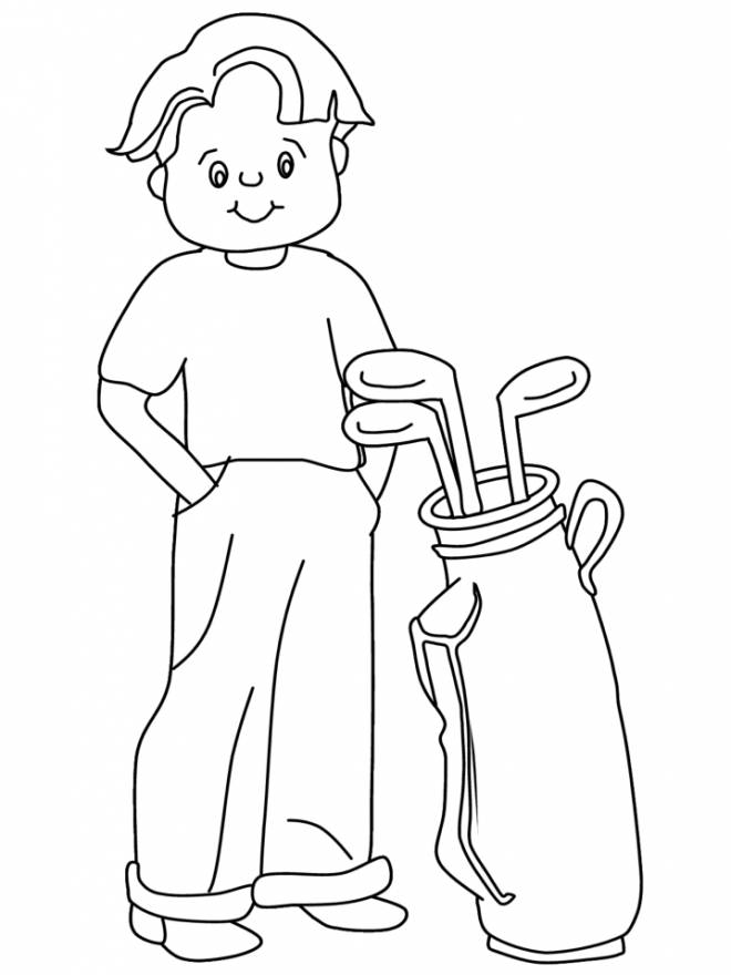 Free coloring and drawings Little smiling golfer Coloring page