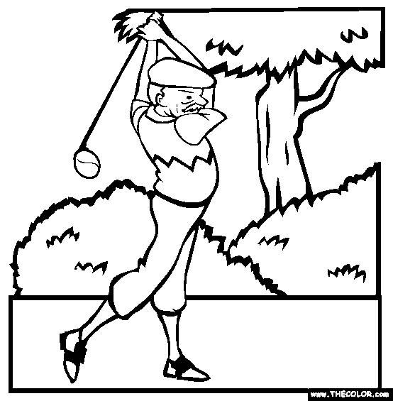 Free coloring and drawings Professional golfer Coloring page