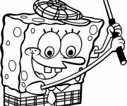 Free coloring and drawings Spongebob plays golf Coloring page