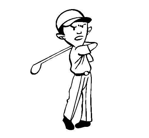 Free coloring and drawings Stylized Golf Player Coloring page