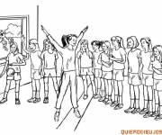 Free coloring and drawings Gymnastics at school Coloring page