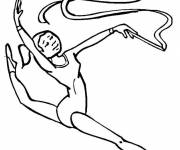 Free coloring and drawings Rhythmic gymnastics in black Coloring page