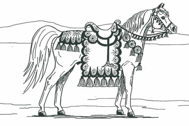 Free coloring and drawings A beautifully equipped horse Coloring page