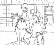 Coloring pages A girl learns horse riding