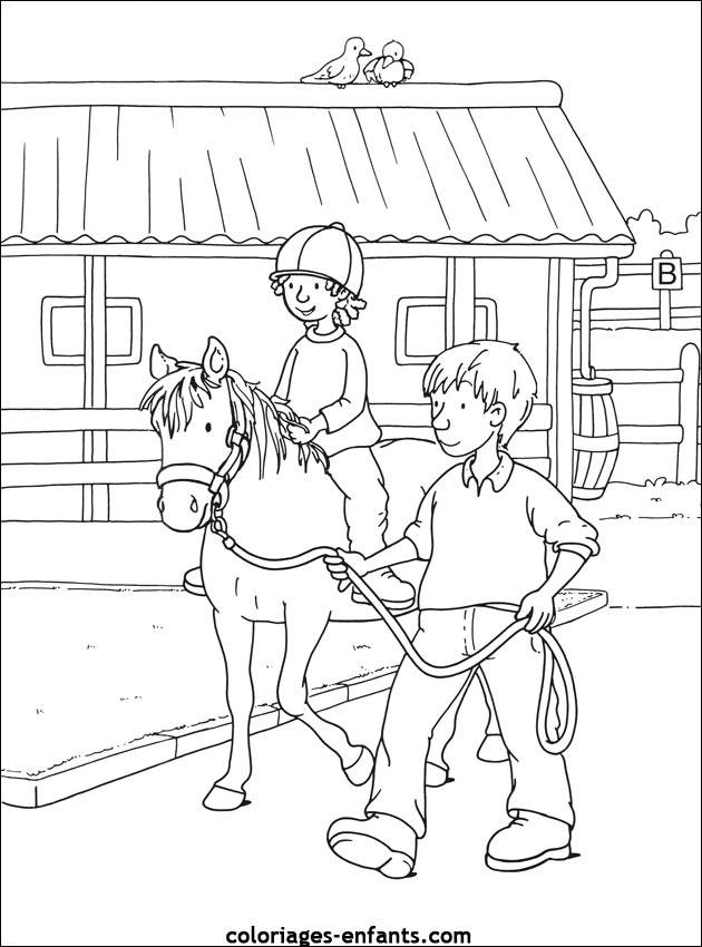 Free coloring and drawings A girl learns horse riding Coloring page