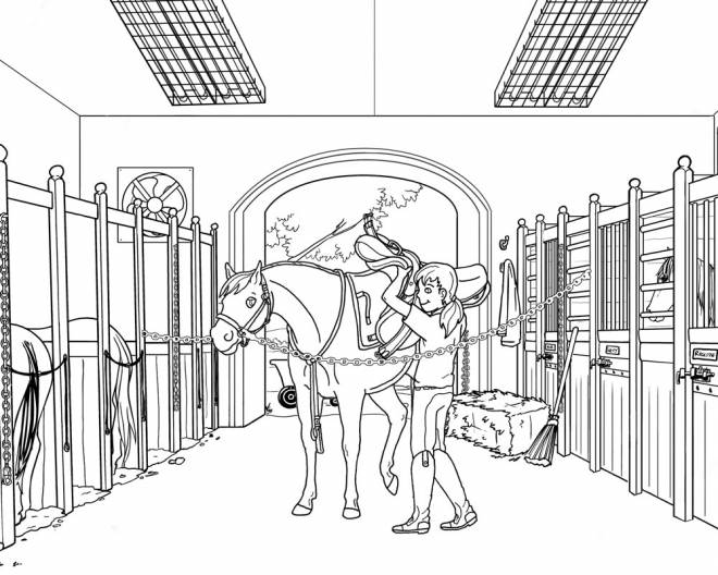 Free coloring and drawings A horse and its saddle Coloring page