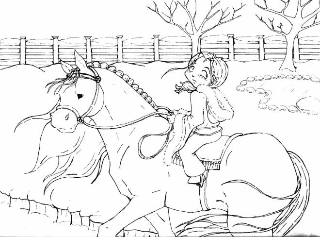 Free coloring and drawings A horse carrying his little rider Coloring page