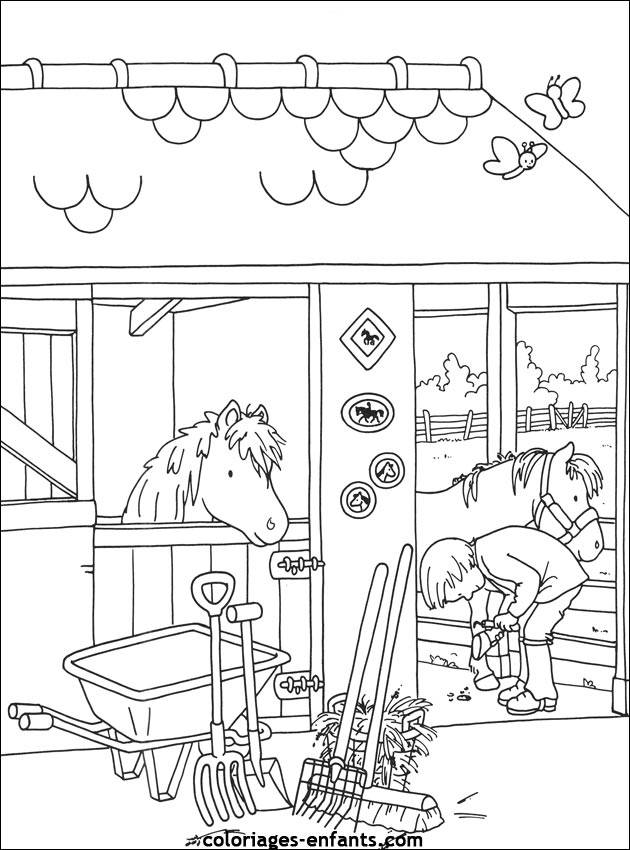 Free coloring and drawings A horse coming out of its box Coloring page