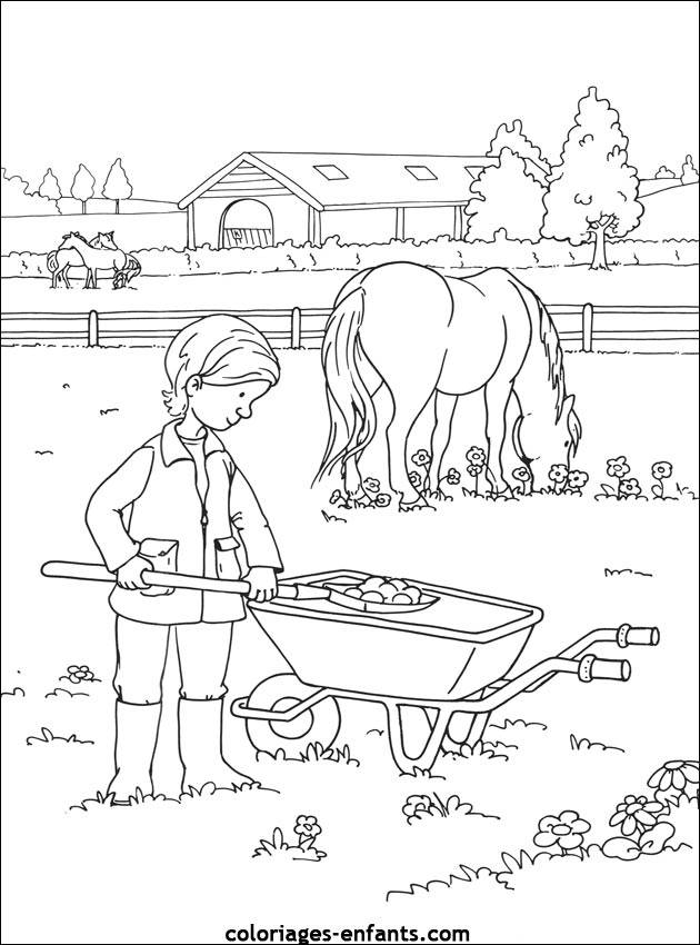 Free coloring and drawings A horse farm Coloring page