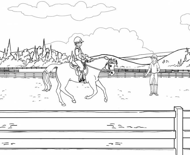 Free coloring and drawings A horse in the training ground Coloring page