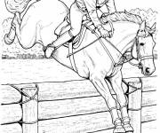 Coloring pages Horse riding and Stylized rider