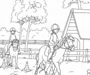 Coloring pages Horse riding in color