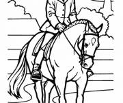 Coloring pages Horse riding vector