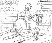 Coloring pages Little rider on horse