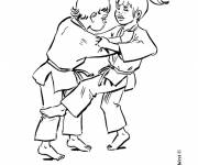 Coloring pages Children playing judo